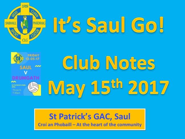 Club Notes 15th May 2017