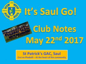 Club Notes 22nd May 2017