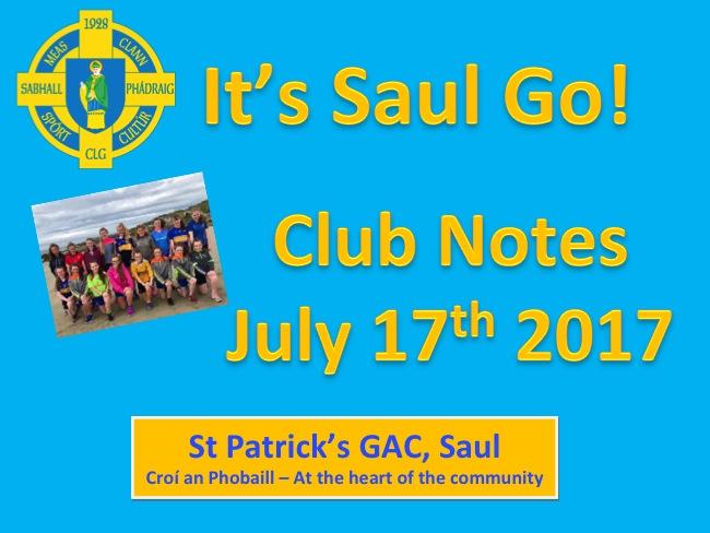 Club Notes 17th July 2017