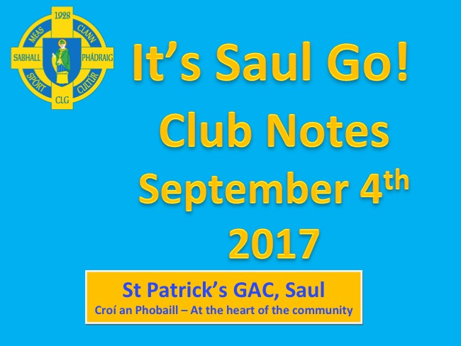 Club Notes 4th September 2017