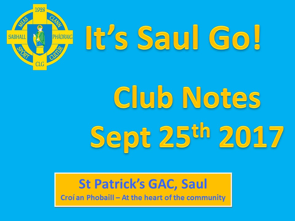 Club Notes 25th September 2017